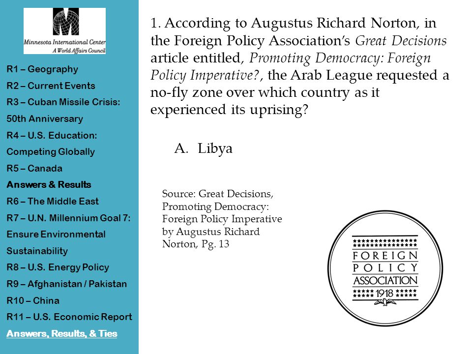1. According to Augustus Richard Norton, in the Foreign Policy Association's Great Decisions article entitled, Promoting Democracy: Foreign Policy Imp