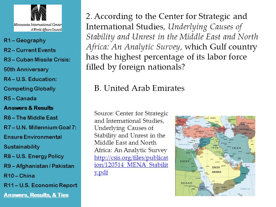 2. According to the Center for Strategic and International Studies, Underlying Causes of Stability and Unrest in the Middle East and North Africa: An