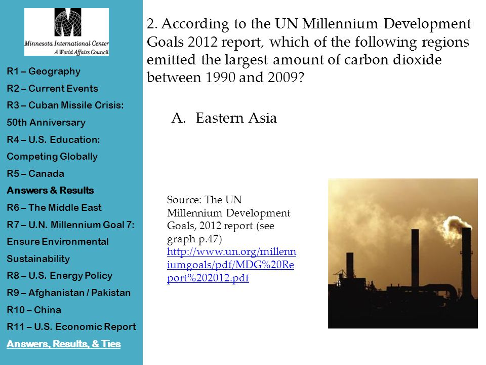 2. According to the UN Millennium Development Goals 2012 report, which of the following regions emitted the largest amount of carbon dioxide between 1