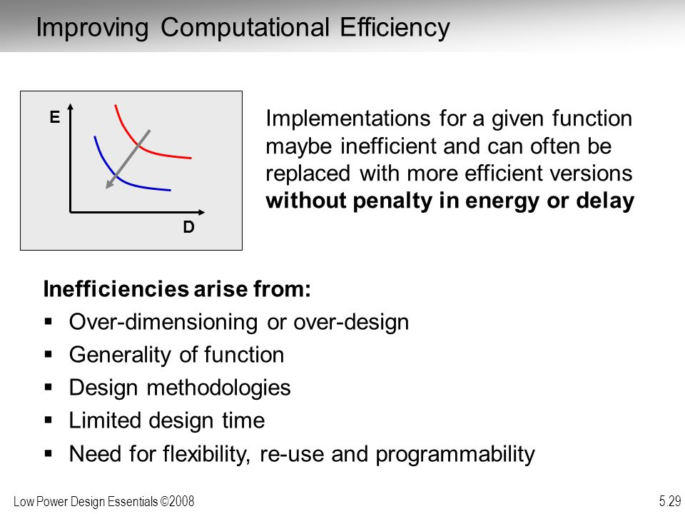 Low Power Design Essentials ©2008 5.29 D E Implementations for a given function maybe inefficient and can often be replaced with more efficient versions without penalty in energy or delay Improving Computational Efficiency Inefficiencies arise from:  Over-dimensioning or over-design  Generality of function  Design methodologies  Limited design time  Need for flexibility, re-use and programmability