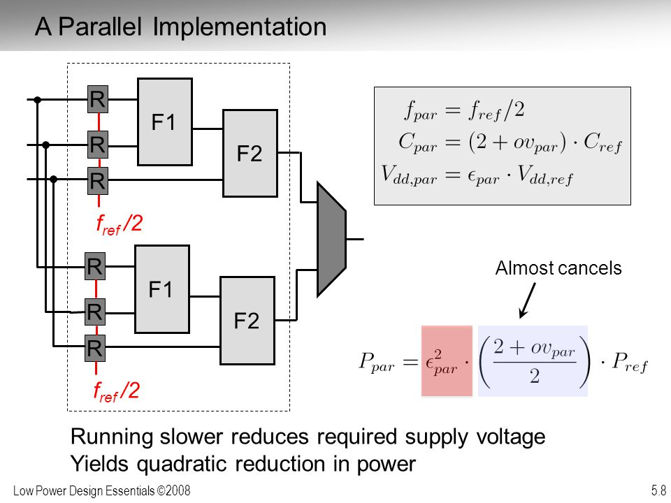Low Power Design Essentials ©2008 5.29 D E Implementations for a given function maybe inefficient and can often be replaced with more efficient versions without penalty in energy or delay Improving Computational Efficiency Inefficiencies arise from:  Over-dimensioning or over-design  Generality of function  Design methodologies  Limited design time  Need for flexibility, re-use and programmability