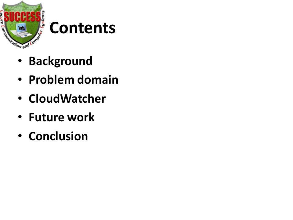 Contents Background Problem domain CloudWatcher Future work Conclusion