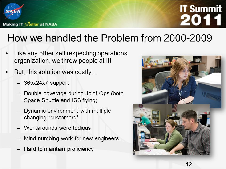 How we handled the Problem from 2000-2009 Like any other self respecting operations organization, we threw people at it! But, this solution was costly