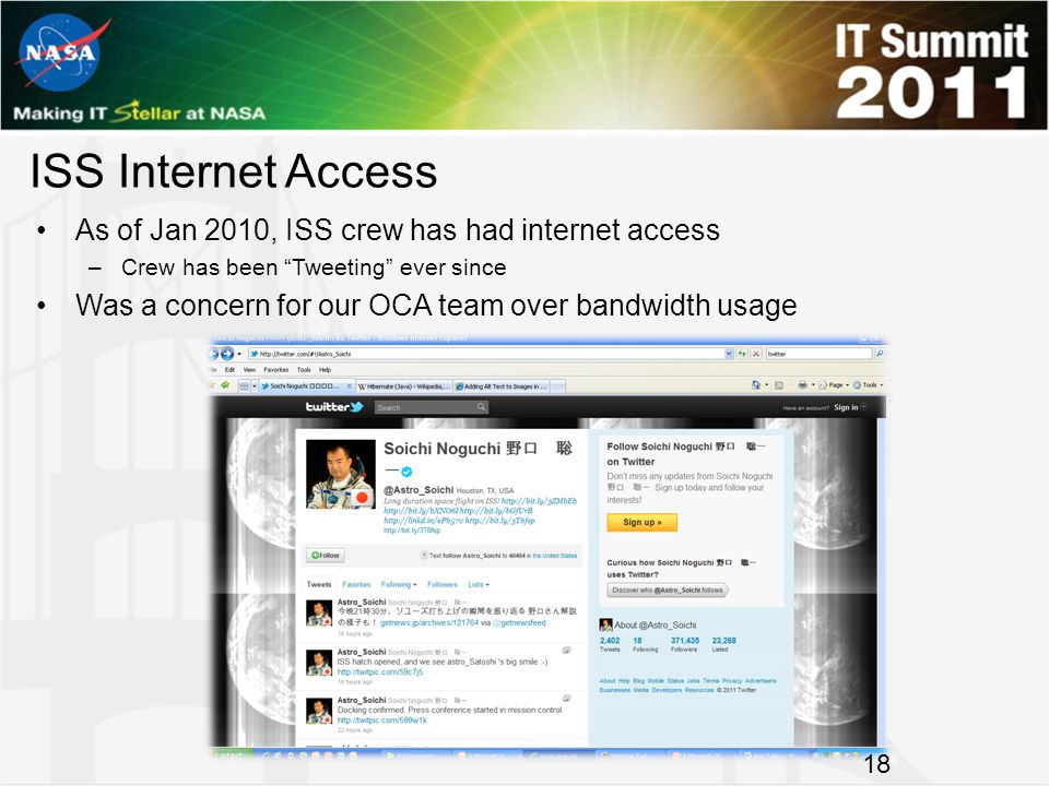 ISS Internet Access As of Jan 2010, ISS crew has had internet access –Crew has been Tweeting ever since Was a concern for our OCA team over bandwidth usage 18