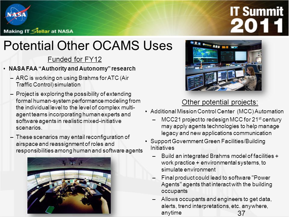 Potential Other OCAMS Uses Additional Mission Control Center (MCC) Automation –MCC21 project to redesign MCC for 21 st century may apply agents technologies to help manage legacy and new applications communication Support Government Green Facilities/Building Initiatives –Build an integrated Brahms model of facilities + work practice + environmental systems, to simulate environment –Final product could lead to software Power Agents agents that interact with the building occupants –Allows occupants and engineers to get data, alerts, trend interpretations, etc.