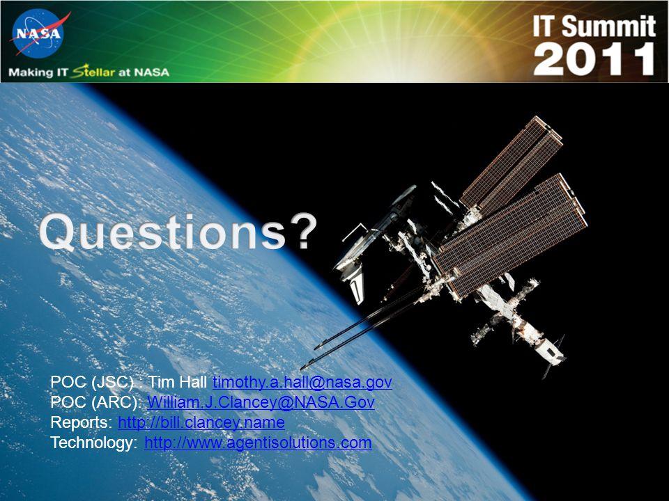 POC (JSC) : Tim Hall timothy.a.hall@nasa.govtimothy.a.hall@nasa.gov POC (ARC): William.J.Clancey@NASA.GovWilliam.J.Clancey@NASA.Gov Reports: http://bill.clancey.namehttp://bill.clancey.name Technology: http://www.agentisolutions.comhttp://www.agentisolutions.com