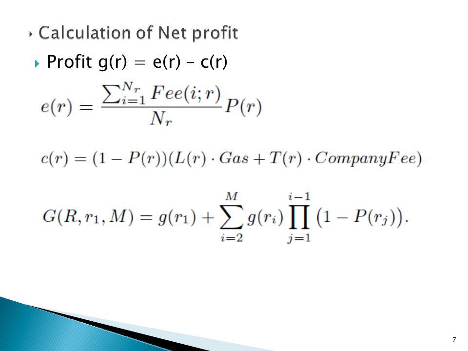  Profit g(r) = e(r) – c(r) 7