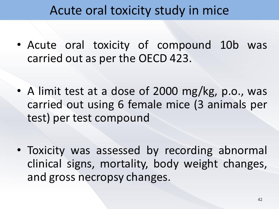 Acute oral toxicity study in mice Acute oral toxicity of compound 10b was carried out as per the OECD 423.