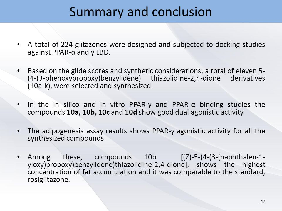 Summary and conclusion A total of 224 glitazones were designed and subjected to docking studies against PPAR-α and γ LBD.