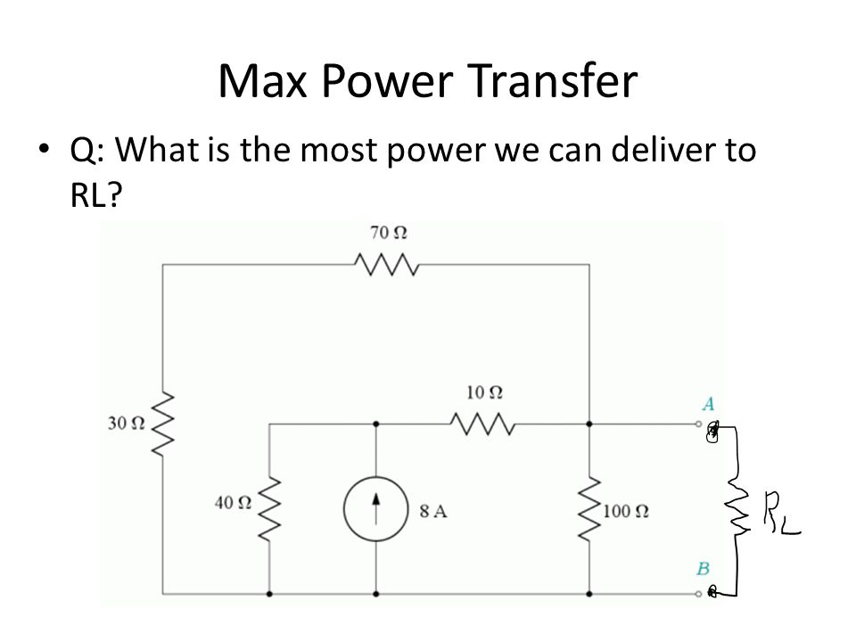 Max Power Transfer Q: What is the most power we can deliver to RL?