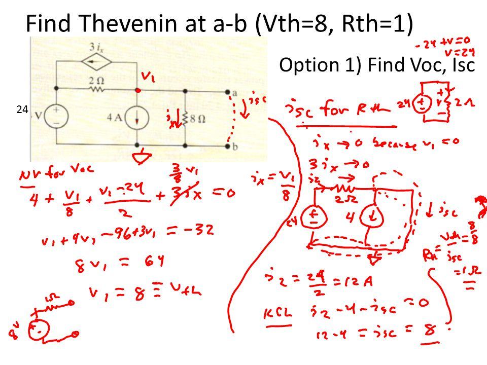 Find Thevenin at a-b (Vth=8, Rth=1) Option 1) Find Voc, Isc 24