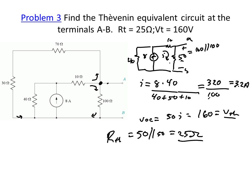 Problem 3Problem 3 Find the Thèvenin equivalent circuit at the terminals A-B. Rt = 25Ω;Vt = 160V