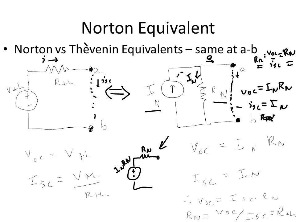 Norton Equivalent Norton vs Thevenin Equivalents – same at a-b