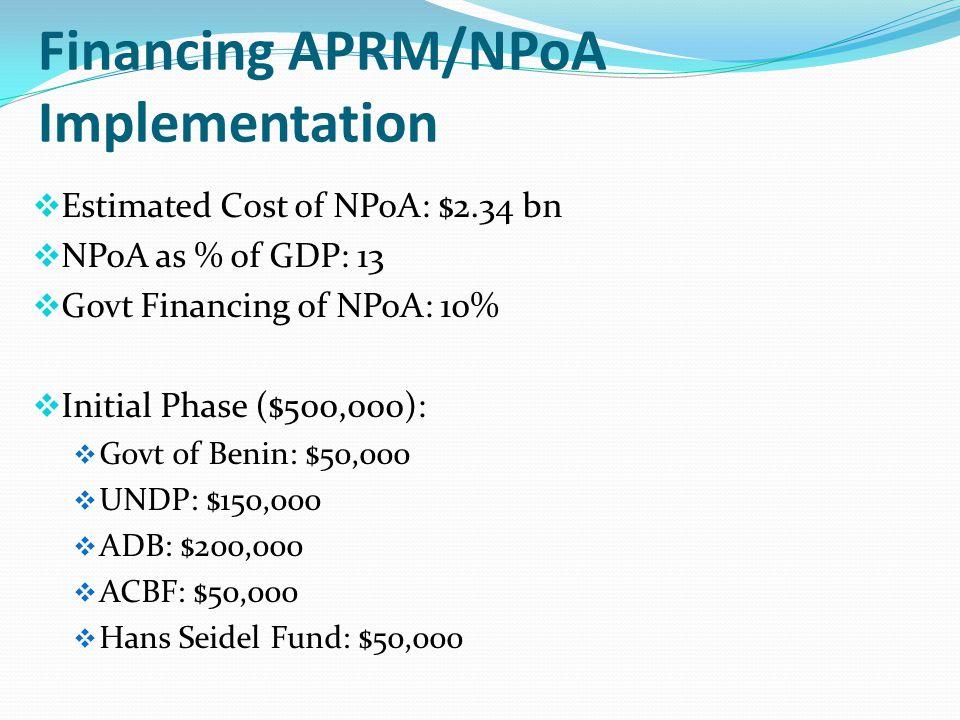 Financing APRM/NPoA Implementation  Estimated Cost of NPoA: $2.34 bn  NPoA as % of GDP: 13  Govt Financing of NPoA: 10%  Initial Phase ($500,000):  Govt of Benin: $50,000  UNDP: $150,000  ADB: $200,000  ACBF: $50,000  Hans Seidel Fund: $50,000