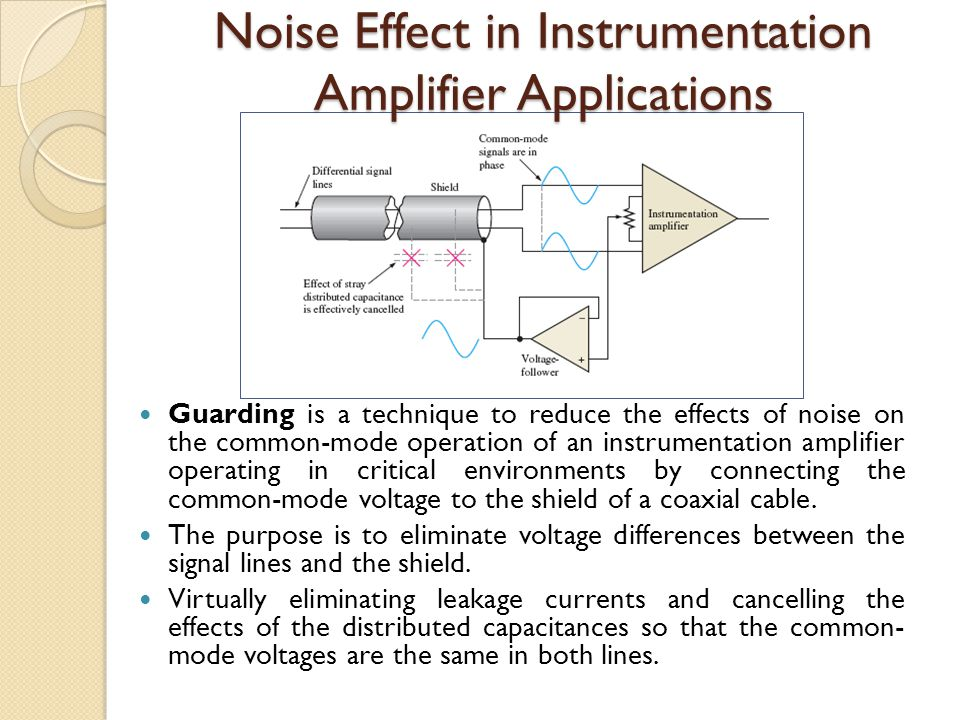 Noise Effect in Instrumentation Amplifier Applications Guarding is a technique to reduce the effects of noise on the common-mode operation of an instr