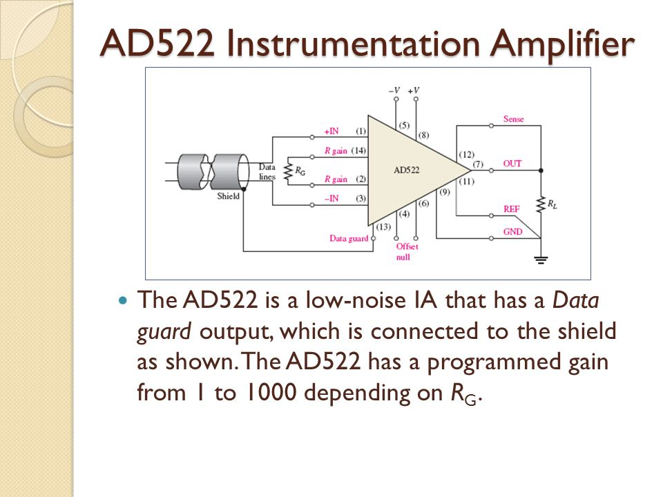 AD522 Instrumentation Amplifier The AD522 is a low-noise IA that has a Data guard output, which is connected to the shield as shown. The AD522 has a p
