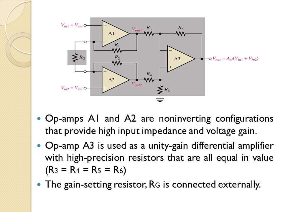 Continue… The overall closed-loop gain of the instrumentation amplifier is: where R 1 = R 2 = R.