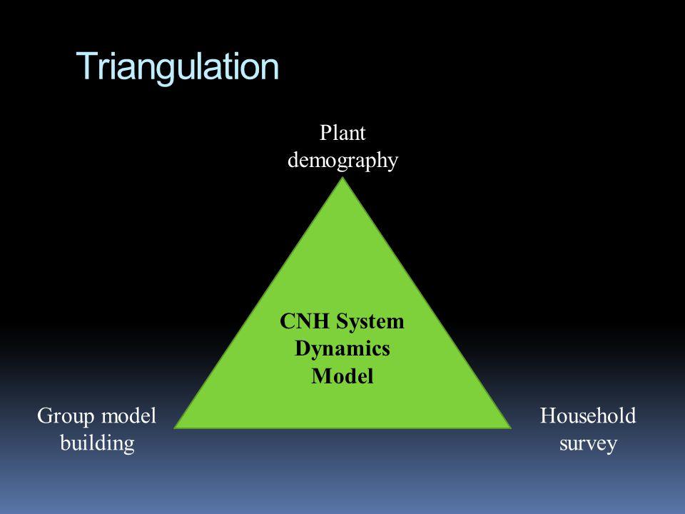 Triangulation CNH System Dynamics Model Plant demography Household survey Group model building