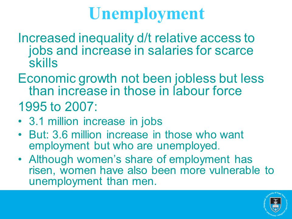 Unemployment Increased inequality d/t relative access to jobs and increase in salaries for scarce skills Economic growth not been jobless but less tha