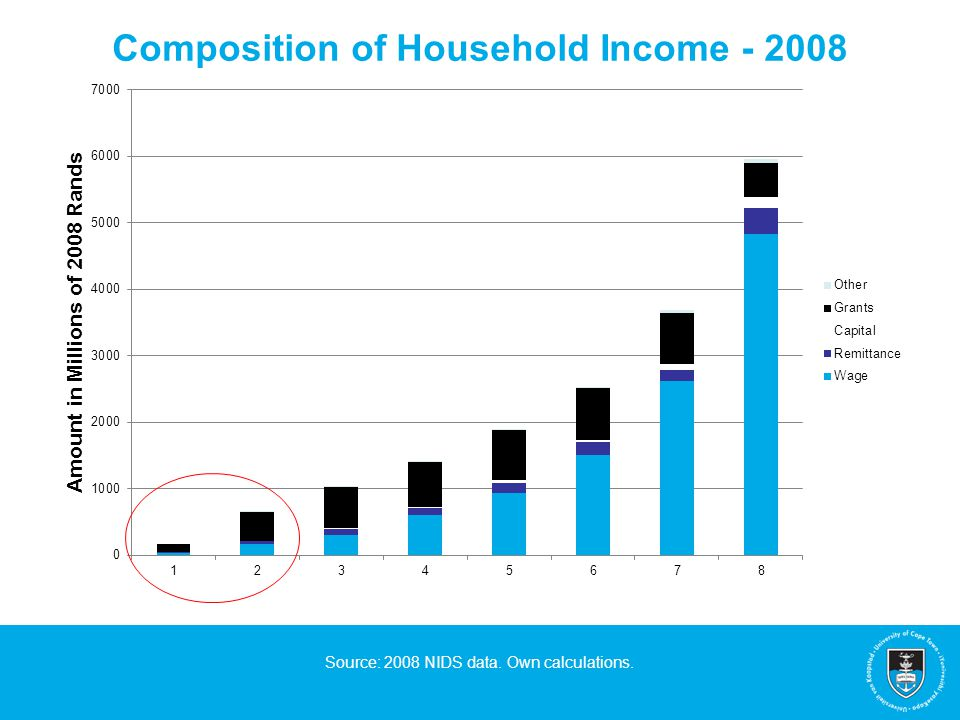 Composition of Household Income - 2008 Source: 2008 NIDS data. Own calculations.