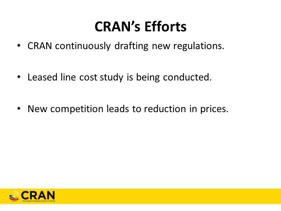 CRAN's Efforts CRAN continuously drafting new regulations.