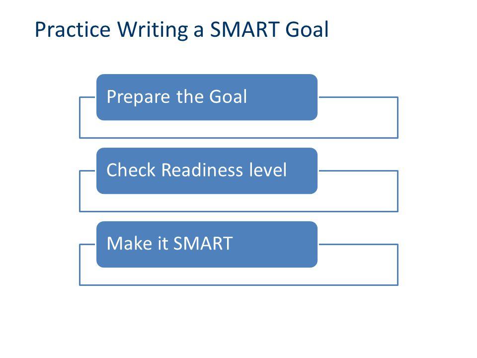 Practice Writing a SMART Goal Prepare the GoalCheck Readiness levelMake it SMART