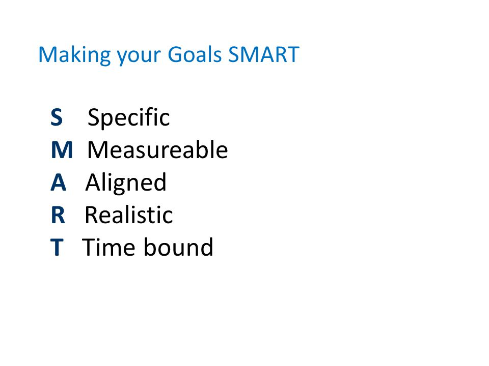 Making your Goals SMART S Specific M Measureable A Aligned R Realistic T Time bound