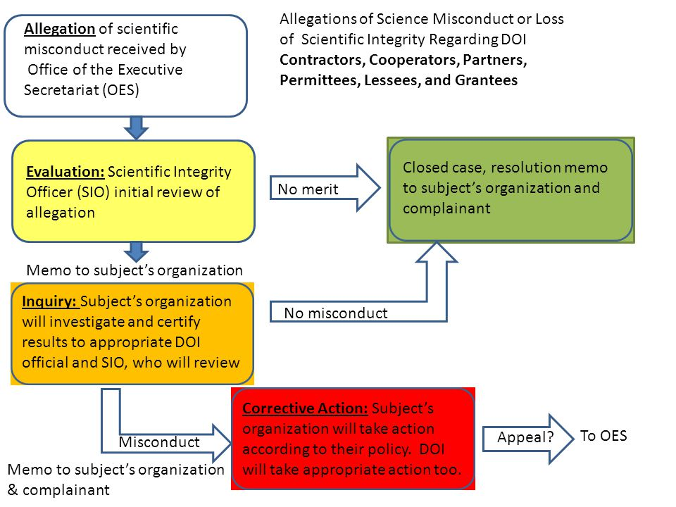 Allegation of scientific misconduct received by Office of the Executive Secretariat (OES) Evaluation: Scientific Integrity Officer (SIO) initial revie