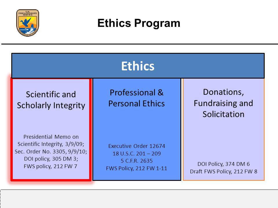 Ethics Program Scientific and Scholarly Integrity Presidential Memo on Scientific Integrity, 3/9/09; Sec.