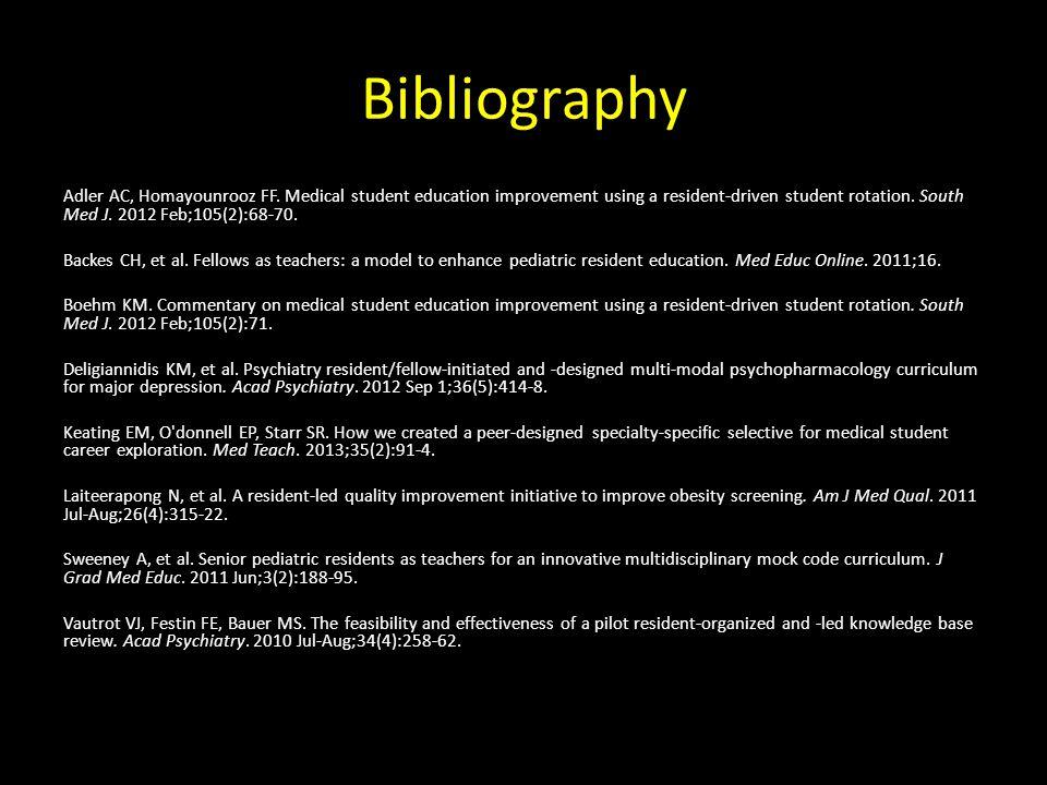 Bibliography Adler AC, Homayounrooz FF.