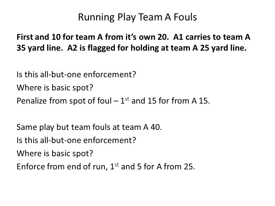 Running Play Team A Fouls First and 10 for team A from it's own 20.