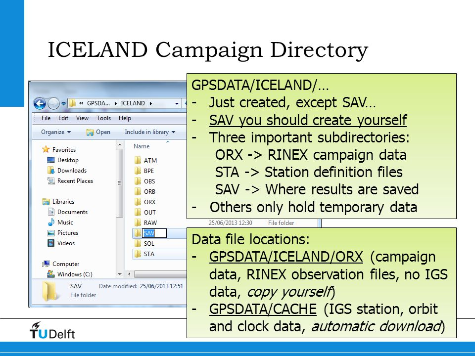 50 ICELAND 2013 GPS Processing Further reading README.TXT that came with the Windows installer Has some good hints on setting up a new campaign, and the steps needed to include new stations The on-line help system available from the GUI This is an excellent source of information (one mouse click away) The Bernese manual (pdf) Has lots and lots of information, available from BERN50 directory.
