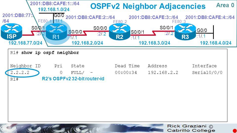 © OSPFv2 Neighbor Adjacencies R1# show ip ospf neighbor Neighbor ID Pri State Dead Time Address Interface 2.2.2.2 0 FULL/ - 00:00:34 192.168.2.2 Seria