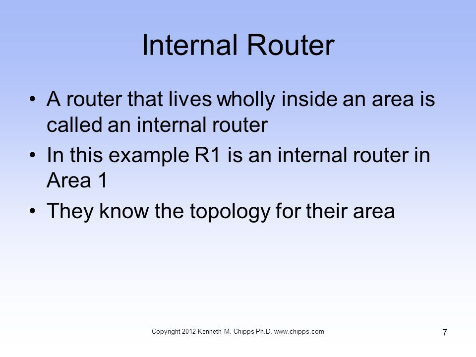 Internal Router A router that lives wholly inside an area is called an internal router In this example R1 is an internal router in Area 1 They know the topology for their area Copyright 2012 Kenneth M.