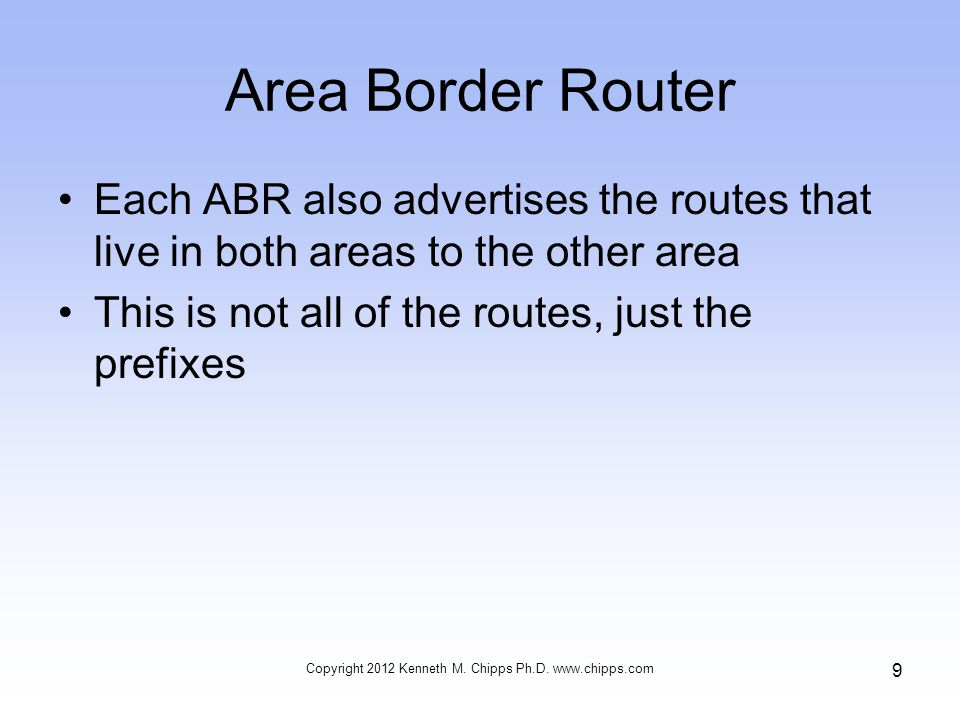 Area Border Router Each ABR also advertises the routes that live in both areas to the other area This is not all of the routes, just the prefixes Copyright 2012 Kenneth M.