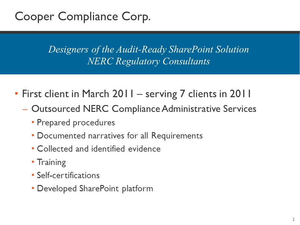 2 Cooper Compliance Corp.