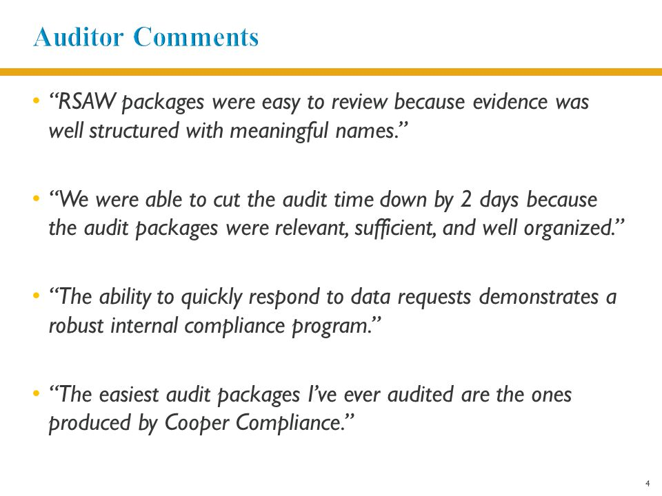 4 RSAW packages were easy to review because evidence was well structured with meaningful names. We were able to cut the audit time down by 2 days because the audit packages were relevant, sufficient, and well organized. The ability to quickly respond to data requests demonstrates a robust internal compliance program. The easiest audit packages I've ever audited are the ones produced by Cooper Compliance.