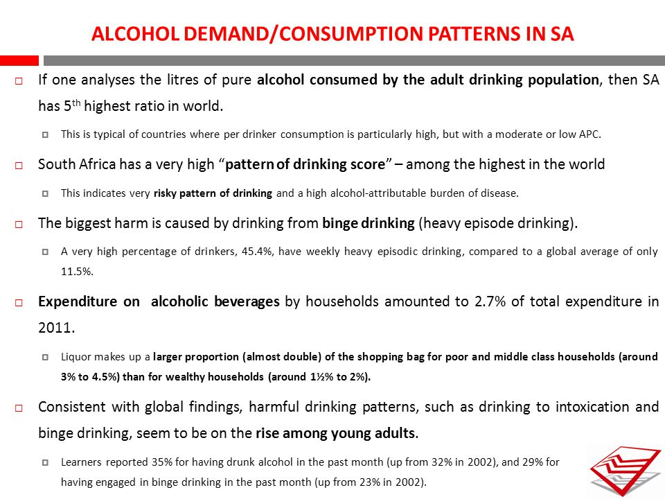 ALCOHOL DEMAND/CONSUMPTION PATTERNS IN SA  If one analyses the litres of pure alcohol consumed by the adult drinking population, then SA has 5 th hig
