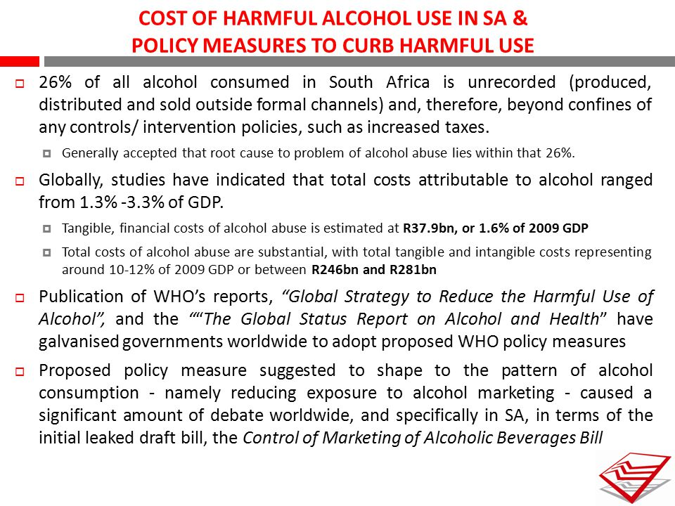 COST OF HARMFUL ALCOHOL USE IN SA & POLICY MEASURES TO CURB HARMFUL USE  26% of all alcohol consumed in South Africa is unrecorded (produced, distrib