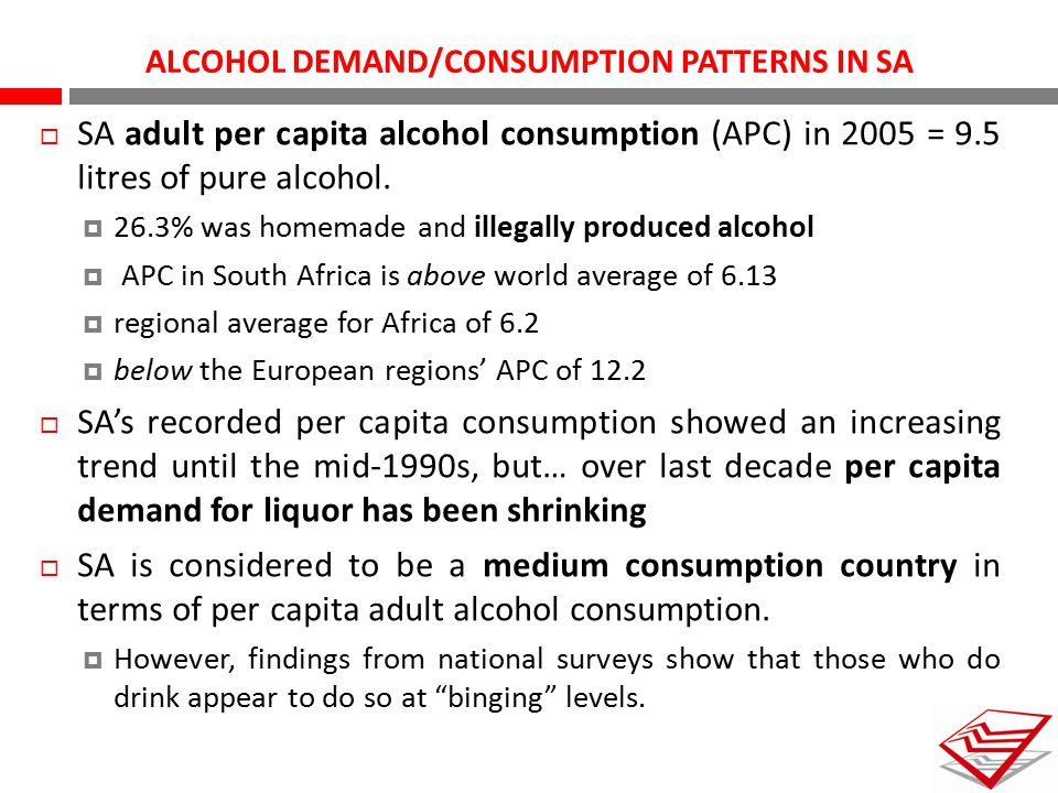 ALCOHOL DEMAND/CONSUMPTION PATTERNS IN SA  SA adult per capita alcohol consumption (APC) in 2005 = 9.5 litres of pure alcohol.  26.3% was homemade a