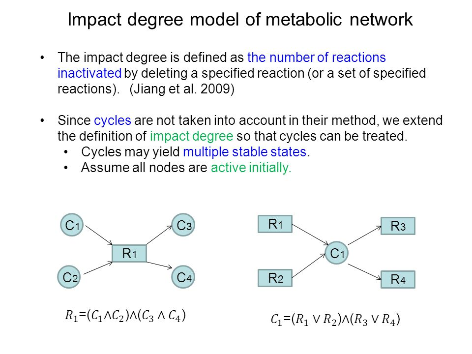 Impact degree model of metabolic network The impact degree is defined as the number of reactions inactivated by deleting a specified reaction (or a set of specified reactions).