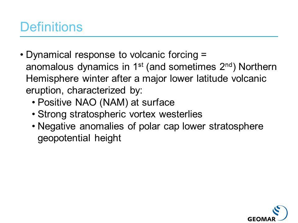 A number of studies have reported realistic simulation of post-volcanic NH dynamical anomalies (Graf et al., 1993, 1994; Mao and Robock, 1998; Kirchner et al., 1999; Shindell et al., 2001; Rozanov et al., 2002; Stenchikov et al., 2002; Collins, 2004; Shindell et al., 2003, Shindell et al.