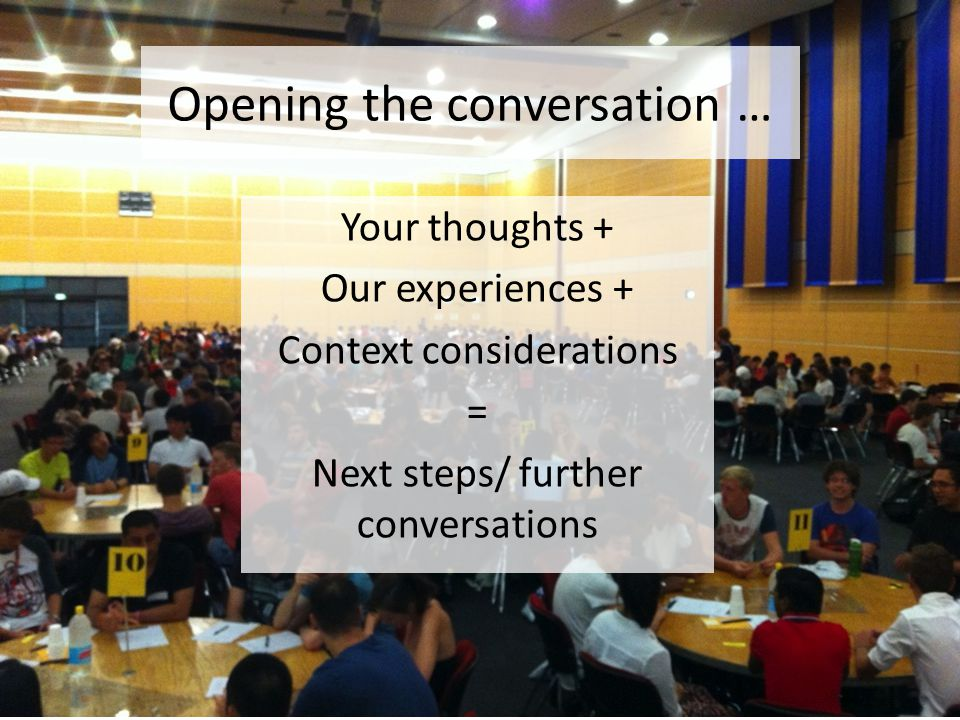 Opening the conversation … Your thoughts + Our experiences + Context considerations = Next steps/ further conversations
