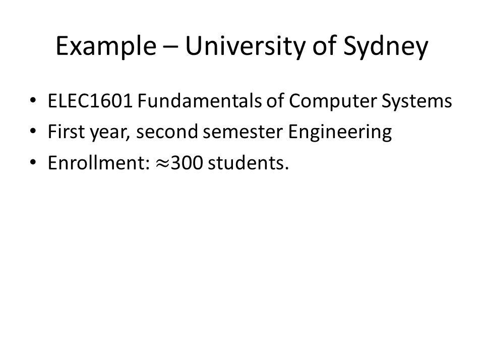Example – University of Sydney
