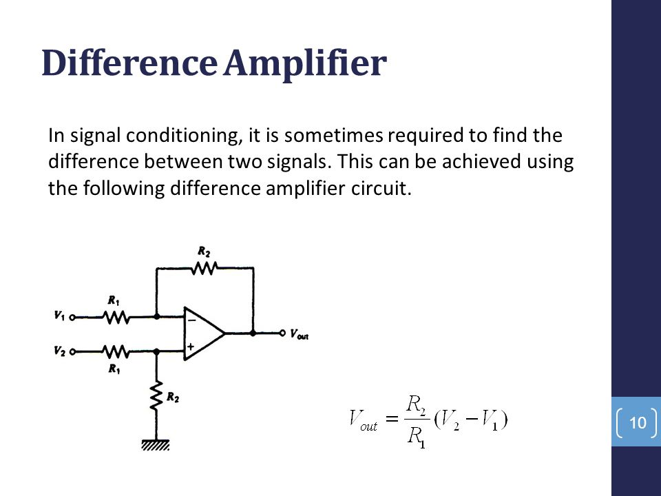 Difference Amplifier In signal conditioning, it is sometimes required to find the difference between two signals. This can be achieved using the follo