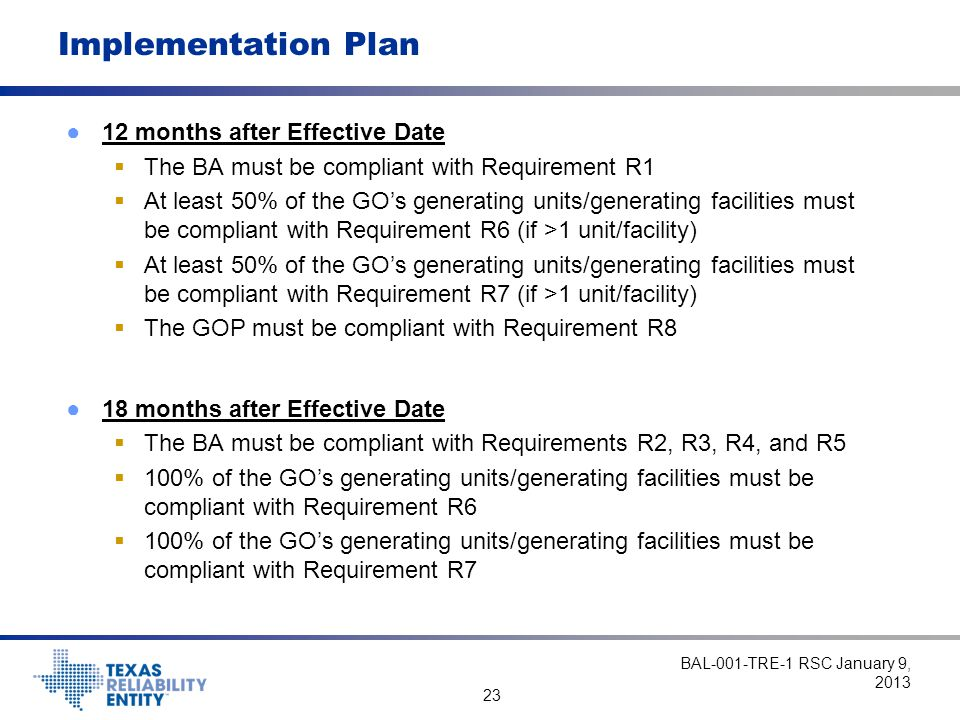 23 Implementation Plan ●12 months after Effective Date  The BA must be compliant with Requirement R1  At least 50% of the GO's generating units/generating facilities must be compliant with Requirement R6 (if >1 unit/facility)  At least 50% of the GO's generating units/generating facilities must be compliant with Requirement R7 (if >1 unit/facility)  The GOP must be compliant with Requirement R8 ●18 months after Effective Date  The BA must be compliant with Requirements R2, R3, R4, and R5  100% of the GO's generating units/generating facilities must be compliant with Requirement R6  100% of the GO's generating units/generating facilities must be compliant with Requirement R7 BAL-001-TRE-1 RSC January 9, 2013