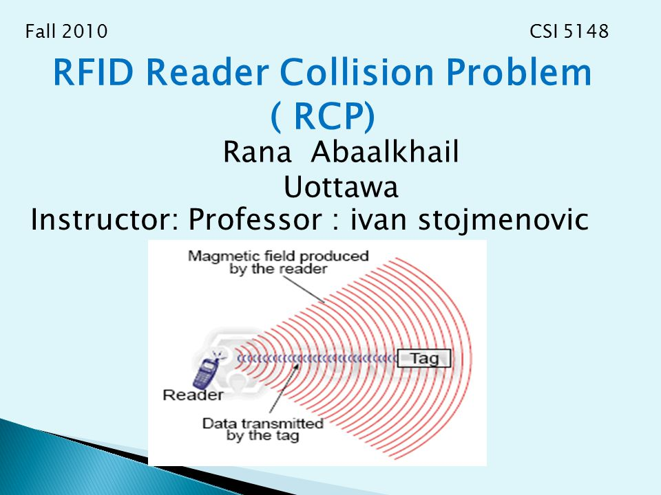 RFID Reader Collision Problem ( RCP) Rana Abaalkhail Uottawa Instructor: Professor : ivan stojmenovic Fall 2010 CSI 5148