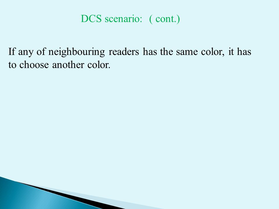 If any of neighbouring readers has the same color, it has to choose another color.