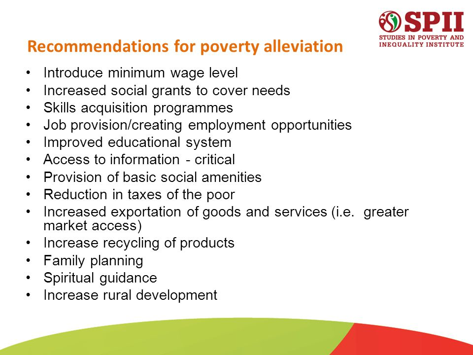 Recommendations for poverty alleviation Introduce minimum wage level Increased social grants to cover needs Skills acquisition programmes Job provision/creating employment opportunities Improved educational system Access to information - critical Provision of basic social amenities Reduction in taxes of the poor Increased exportation of goods and services (i.e.