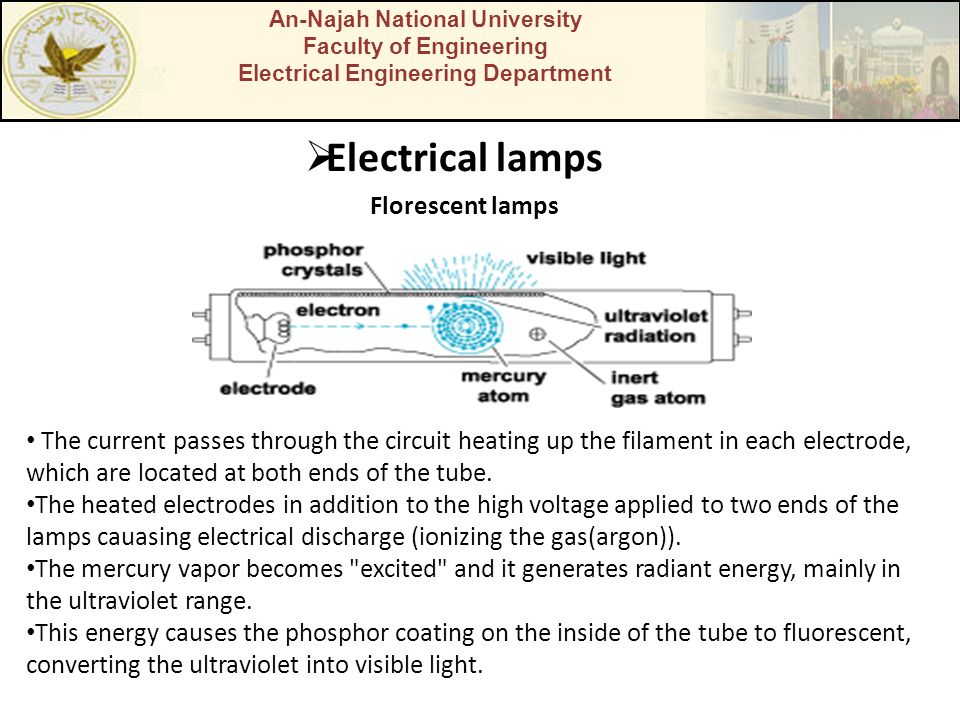 An-Najah National University Faculty of Engineering Electrical Engineering Department  Electrical lamps Florescent lamps The current passes through the circuit heating up the filament in each electrode, which are located at both ends of the tube.